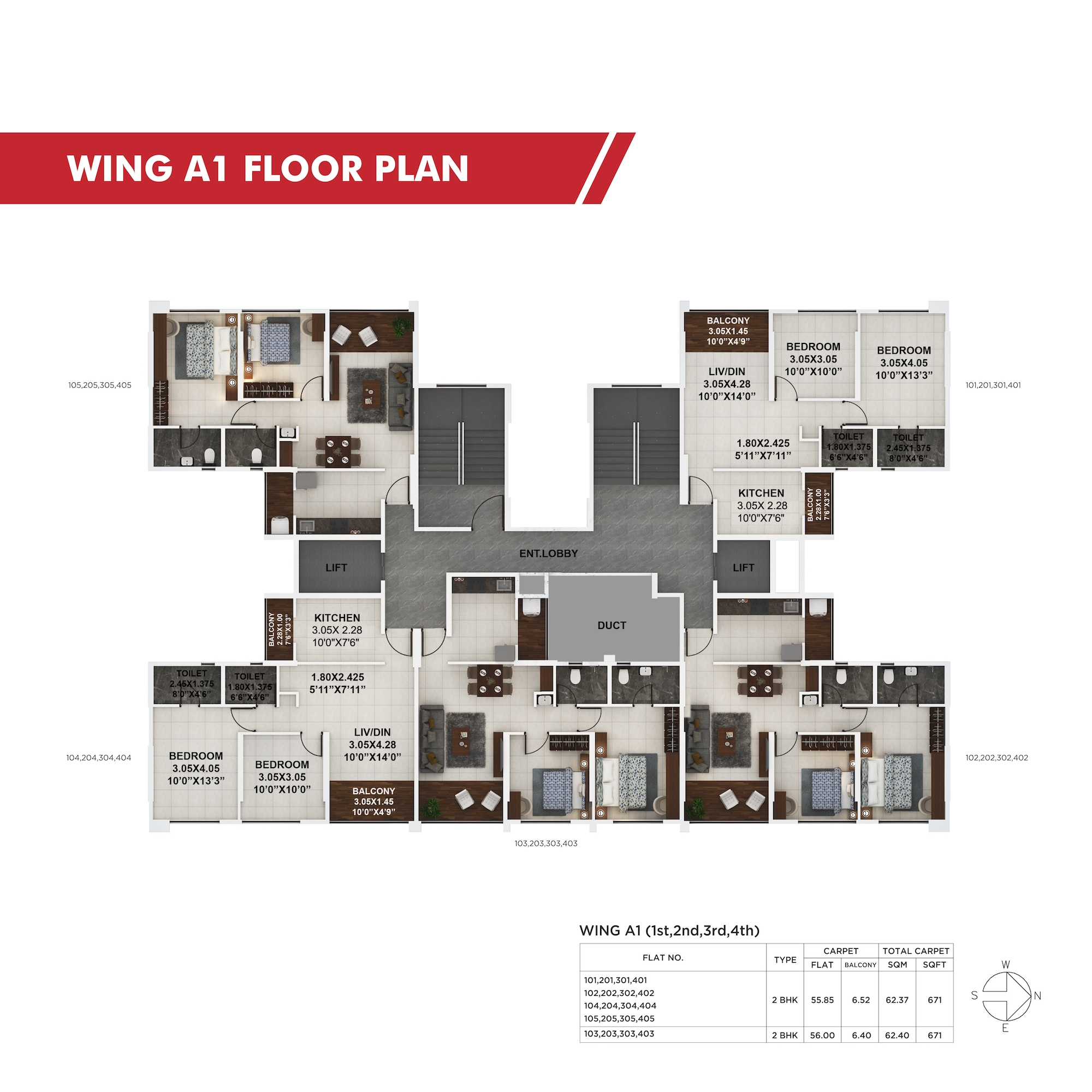 Palaash Wing A1(1st,2nd,3rd,4th) Floor Plan