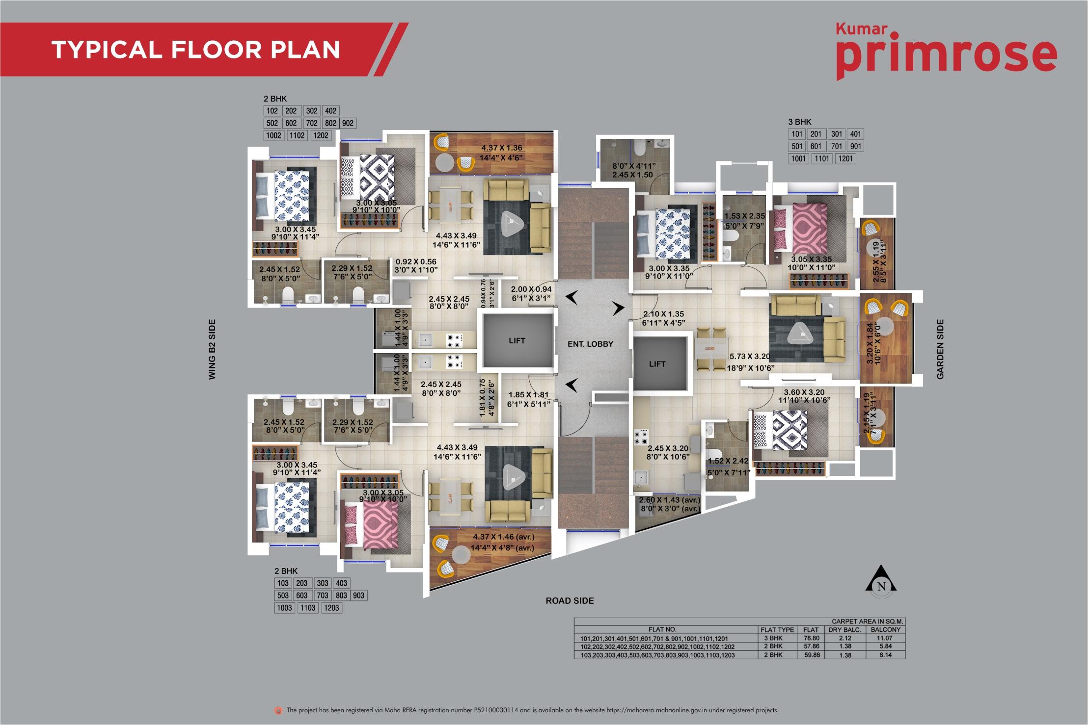 Revised primrose typical floor plan with rera no. 3