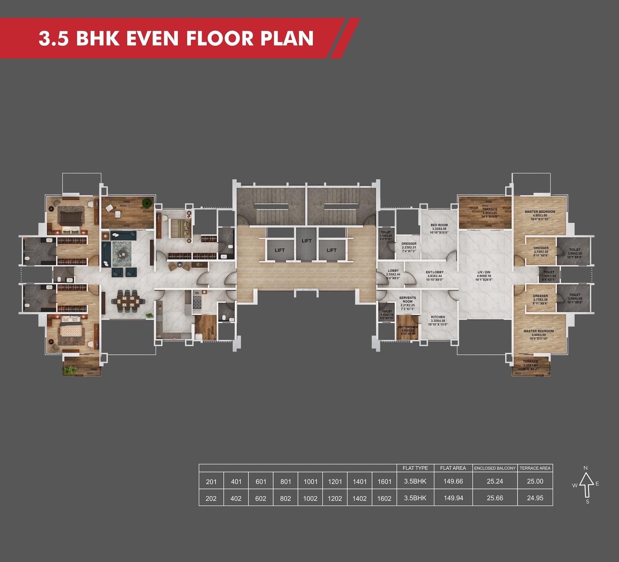 Sanctum 3.5BHK Even Floor Plan