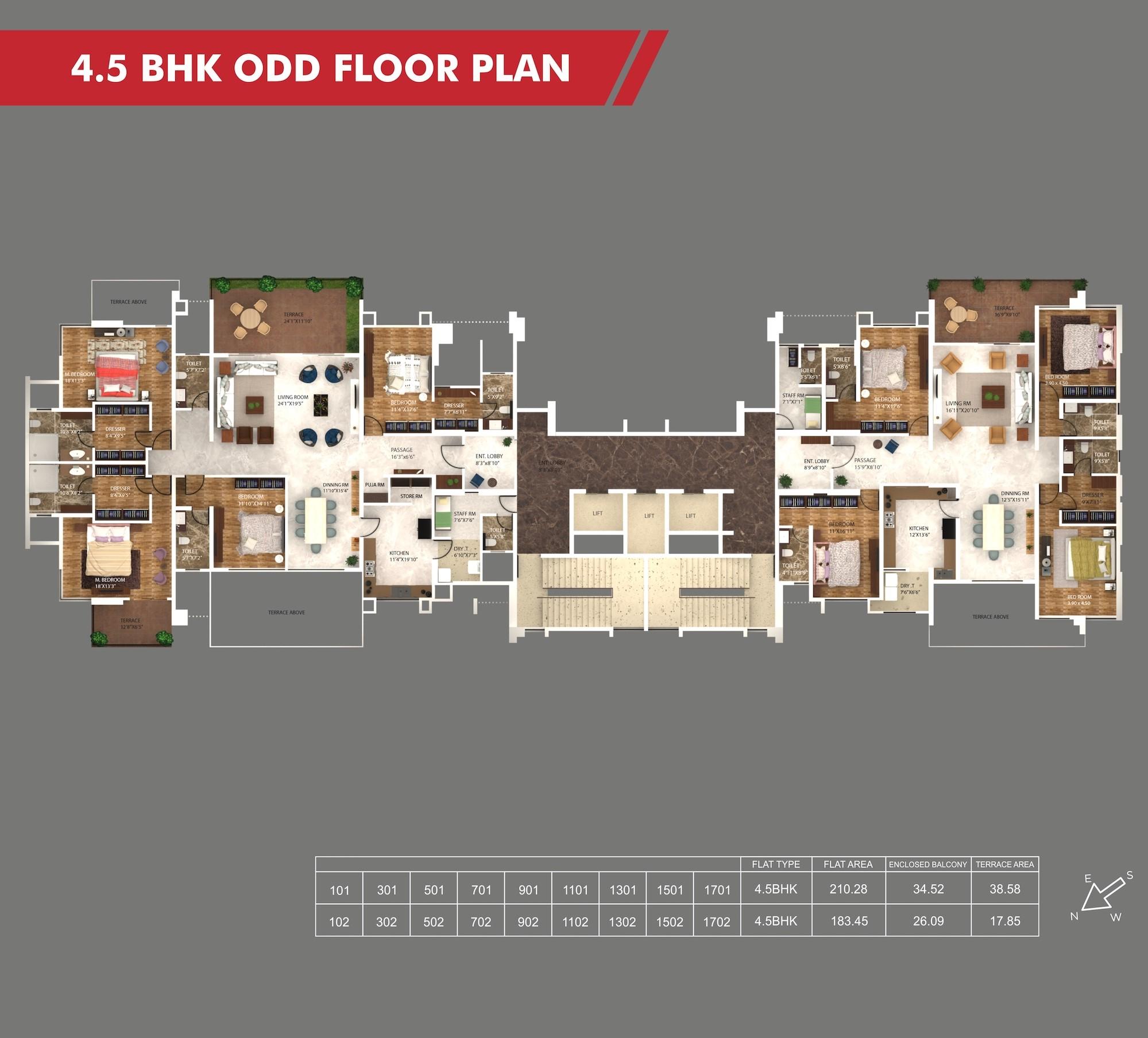Sanctum 4.5 BHK Odd Floor Plan